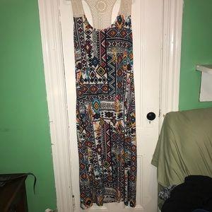 NWT tribal print crocheted back dress (2x)